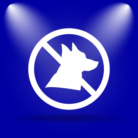 refused: Forbidden dogs icon. Flat icon on blue background.