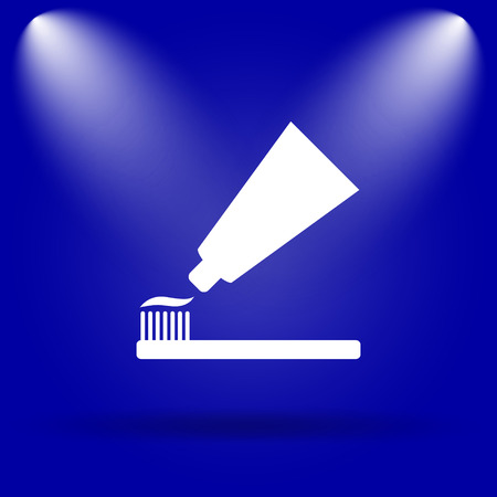 tooth paste: Tooth paste and brush icon. Flat icon on blue background.