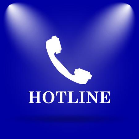 hotline: Hotline icon. Flat icon on blue background. Stock Photo