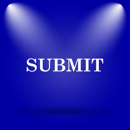 submit: Submit icon. Flat icon on blue background. Stock Photo