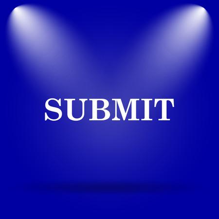 submitting: Submit icon. Flat icon on blue background. Stock Photo