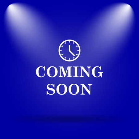 coming soon: Coming soon icon. Flat icon on blue background. Stock Photo