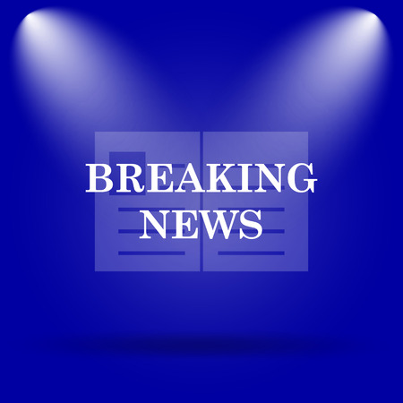 actual: Breaking news icon. Flat icon on blue background. Stock Photo