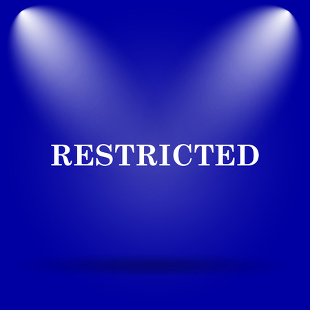 restricted icon: Restricted icon. Flat icon on blue background.