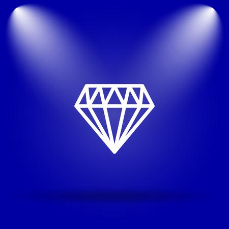 unbreakable: Diamond icon. Flat icon on blue background.