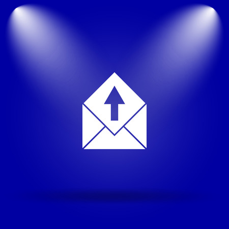 blue send: Send e-mail icon. Flat icon on blue background. Stock Photo