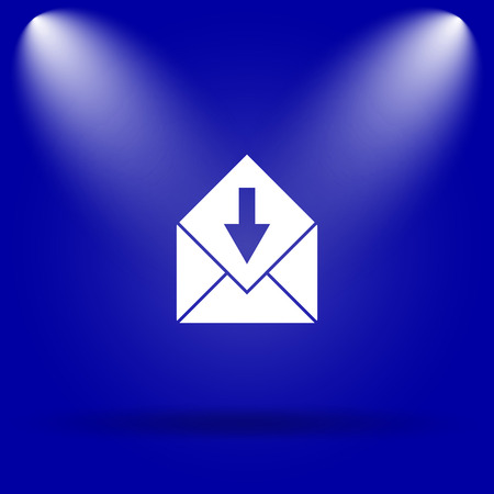receive: Receive e-mail icon. Flat icon on blue background. Stock Photo