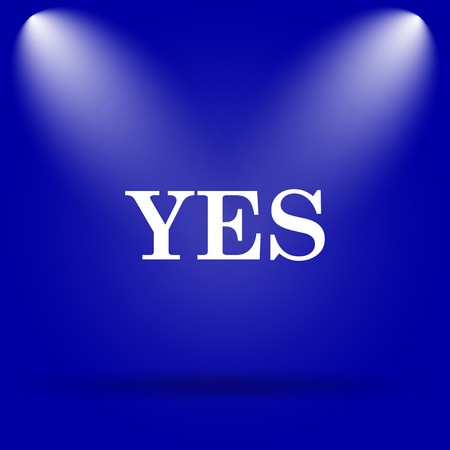 yes icon: Yes icon. Flat icon on blue background.