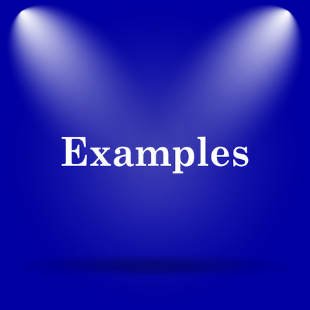 examples: Examples icon. Flat icon on blue background. Stock Photo