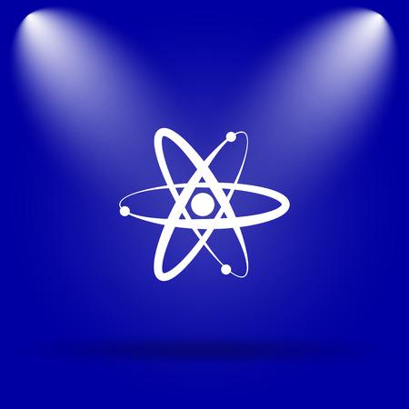 gamma radiation: Atoms icon. Flat icon on blue background.