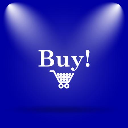 buy icon: Buy icon. Flat icon on blue background. Stock Photo