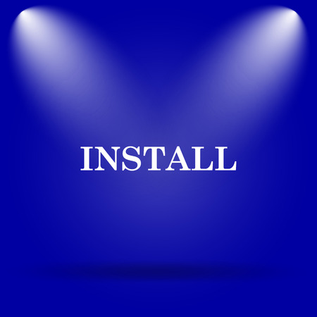 operative system: Install icon. Flat icon on blue background. Stock Photo