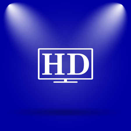 hd tv: HD TV icon. Flat icon on blue background. Stock Photo