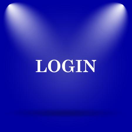 login icon: Login icon. Flat icon on blue background.