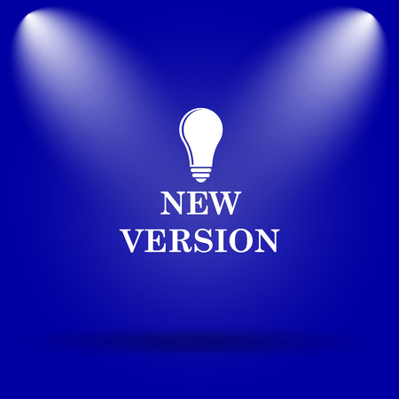 version: New version icon. Flat icon on blue background.