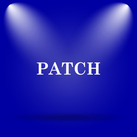 patch: Patch icon. Flat icon on blue background.