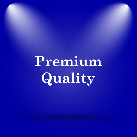 first rate: Premium quality icon. Flat icon on blue background.