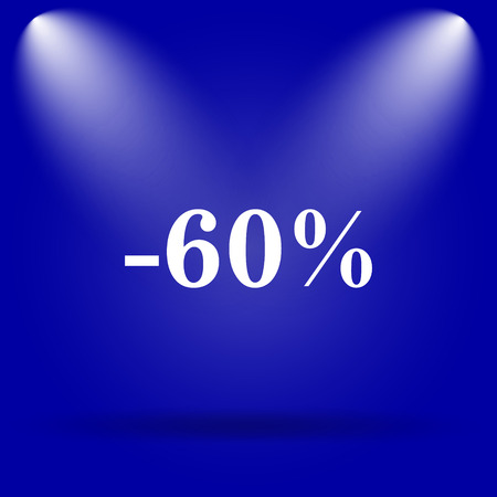 60: 60 percent discount icon. Flat icon on blue background.