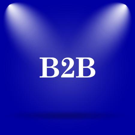b2b: B2B icon. Flat icon on blue background.