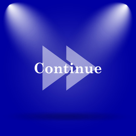continue: Continue icon. Flat icon on blue background. Stock Photo