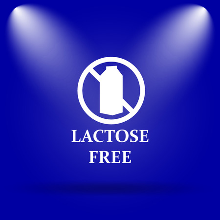 nietolerancyjny: Lactose free icon. Flat icon on blue background.
