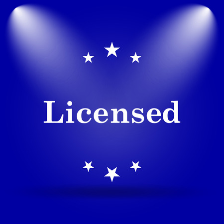 licensed: Licensed icon. Flat icon on blue background. Stock Photo