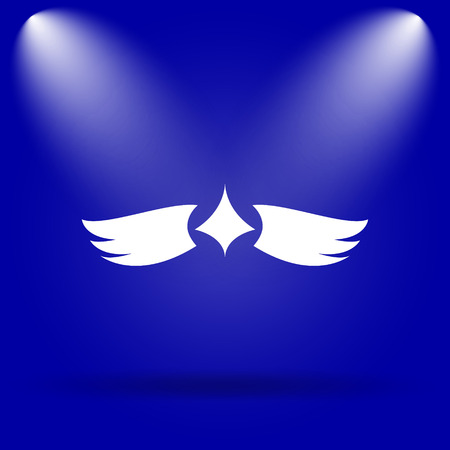 pacification: Wings icon. Flat icon on blue background. Stock Photo