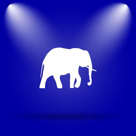 endanger: Elephant icon. Flat icon on blue background. Stock Photo