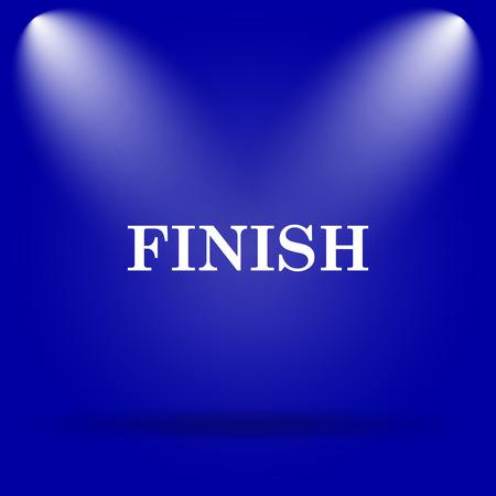Finish icon. Flat icon on blue background.