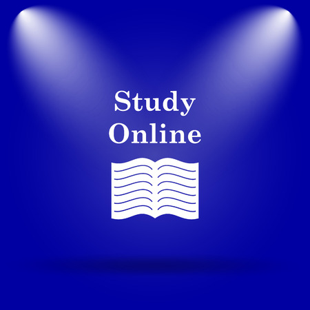 course development: Study online icon. Flat icon on blue background.