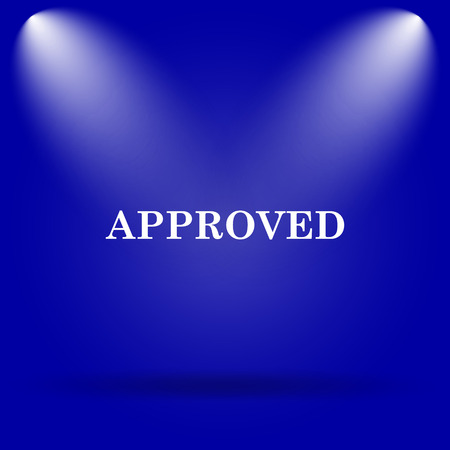 approved icon: Approved icon. Flat icon on blue background. Stock Photo