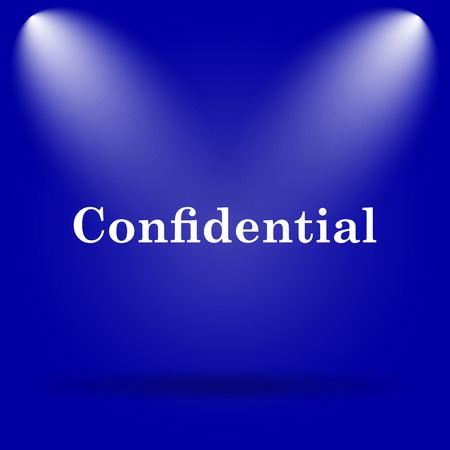 confidentiality: Confidential icon. Flat icon on blue background.