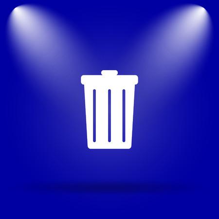 blue bin: Bin icon. Flat icon on blue background.