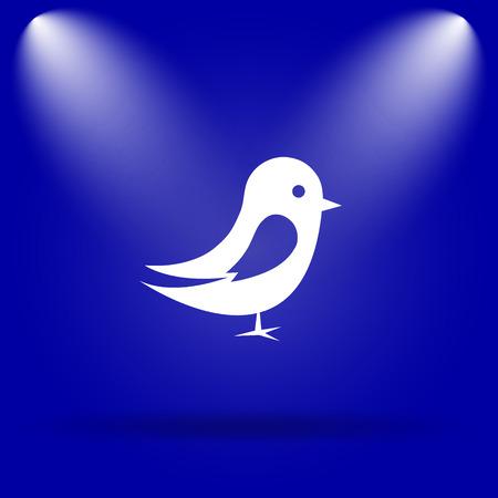 chirp: Bird icon. Flat icon on blue background.