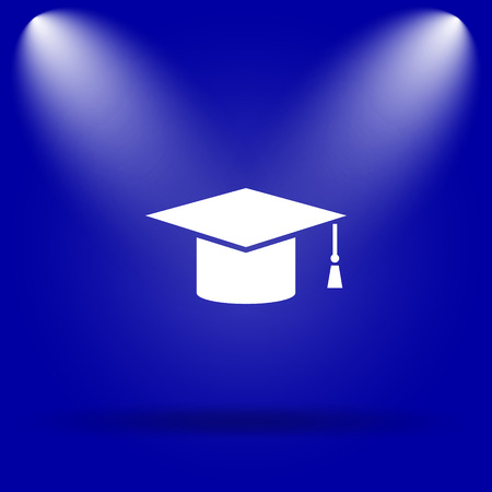doctorate: Graduation icon. Flat icon on blue background.