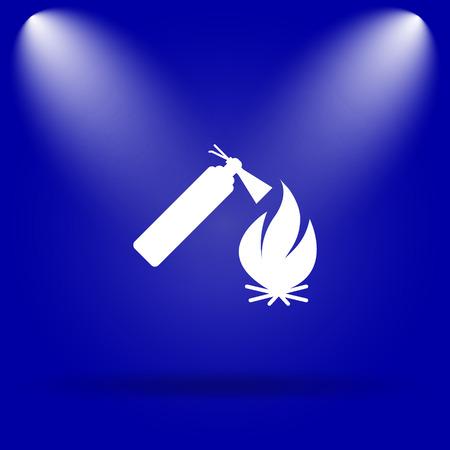 flammability: Fire extinguisher icon. Flat icon on blue background. Stock Photo