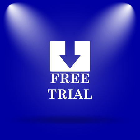grant: Free trial icon. Flat icon on blue background.