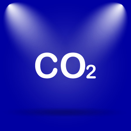 co2: CO2 icon. Flat icon on blue background.