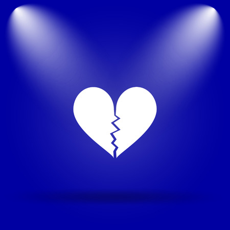 delusion: Broken heart icon. Flat icon on blue background.