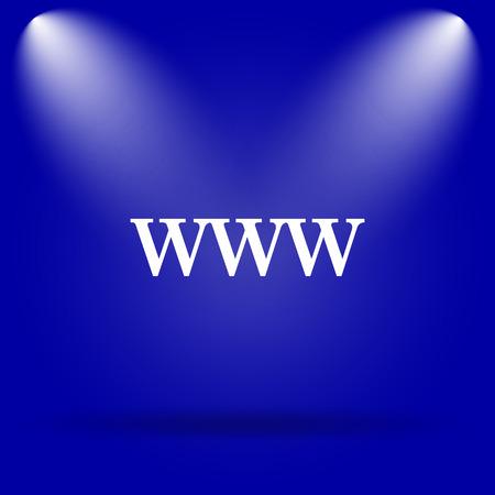 www icon: WWW icon. Flat icon on blue background.