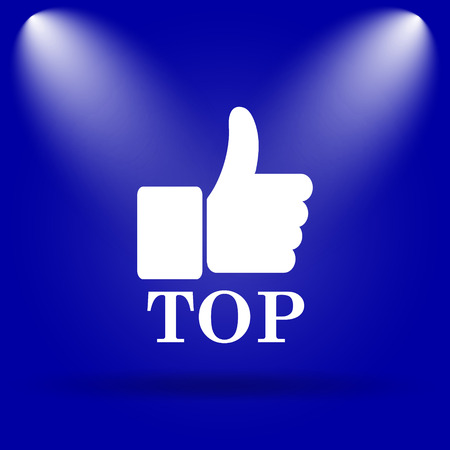best rated: Top icon. Flat icon on blue background. Stock Photo