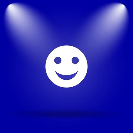 smily: Smiley icon. Flat icon on blue background. Stock Photo