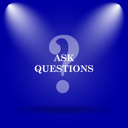 inquiry: Ask questions icon. Flat icon on blue background.