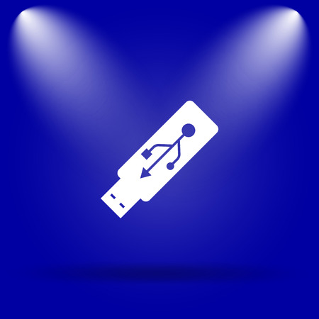 pendrive: Usb flash drive icon. Flat icon on blue background.