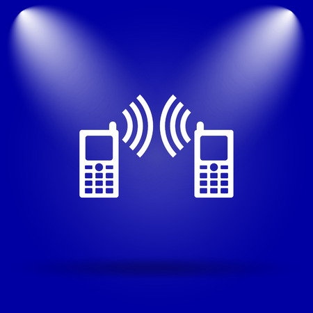 palmtop: Communication icon. Flat icon on blue background.
