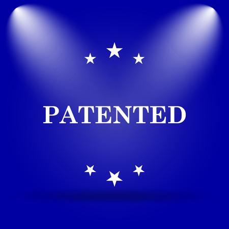 plagiarism: Patented icon. Flat icon on blue background.