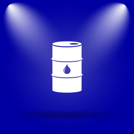 barrell: Oil barrel icon. Flat icon on blue background. Stock Photo