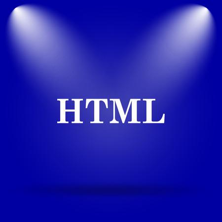 HTML icon. Flat icon on blue background. photo
