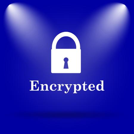 encrypted: Encrypted icon. Flat icon on blue background. Stock Photo