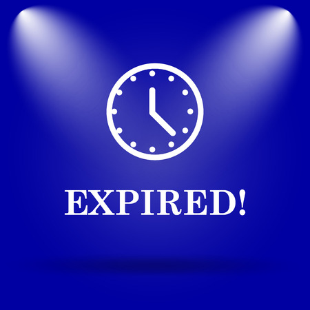 expired: Expired icon. Flat icon on blue background.